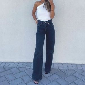 LEVI'S denim ribcage wide leg high rise premium whiskered black jeans size 29